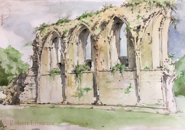 Robert Liberace, Watercolor-Glastonbury-Abbey