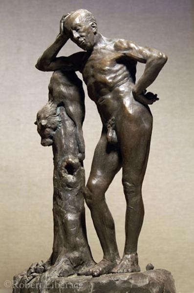 Robert Liberace, Hercules resting, terra cotta 10x18 in