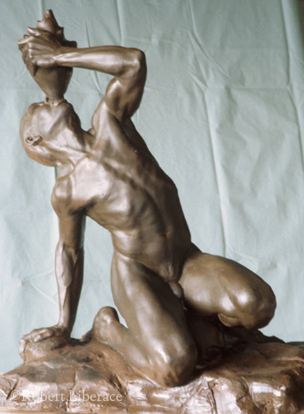 Robert Liberace,Tritan, painted plaster