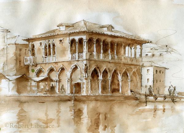 Robert-Liberace watercolor Venice, Grand Canal, pen ink