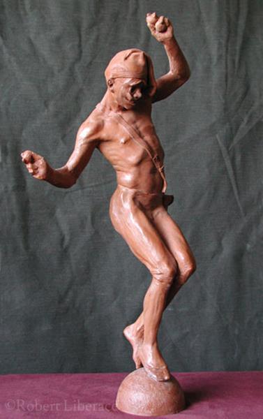 Robert Liberace, harlequin Juggling, terra-cotta