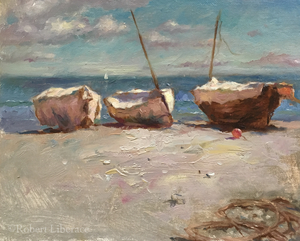 Robert Liberace, Oil-on-board, three-boats