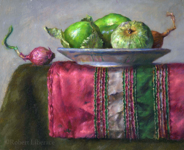 Robert Liberace, tomatillas-and-shallots, Oil-on-board